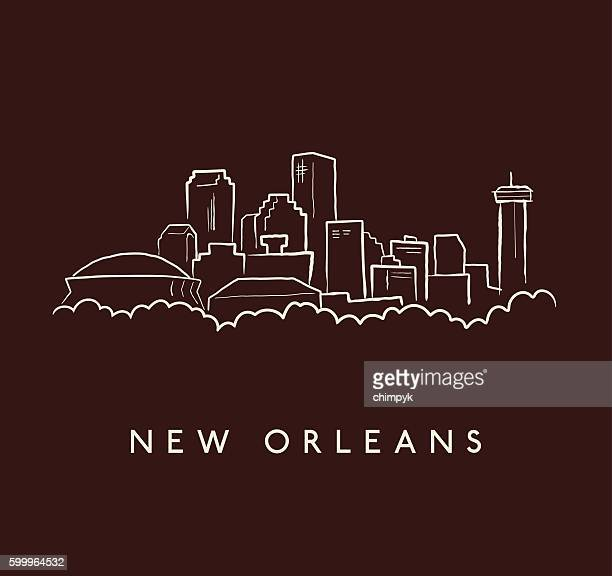 new orleans skyline sketch - new orleans stock illustrations, clip art, cartoons, & icons