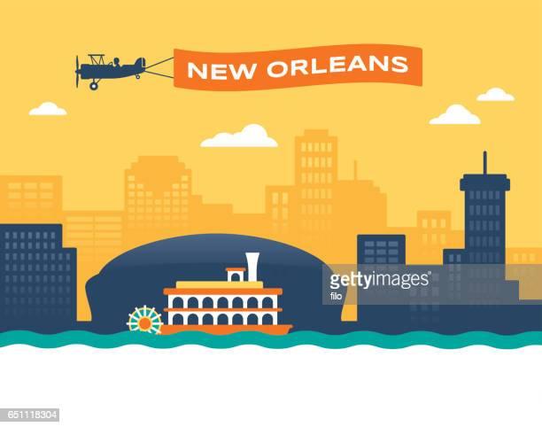 new orleans skyline - biplane stock illustrations, clip art, cartoons, & icons