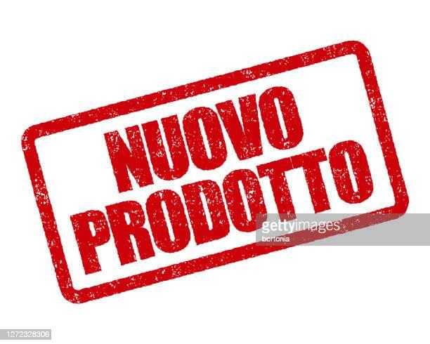 illustrazioni stock, clip art, cartoni animati e icone di tendenza di nuovo prodotto timbro italiano - festa per il lancio pubblicitario