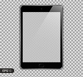 New Realistic Tablet PC Computer with Transparent Screen Isolated on Background. Can Use for Template, Project, Presentation or Banner. Brand Pad. Electronic Gadget, Device Set Mock Up. Vector Illustration.