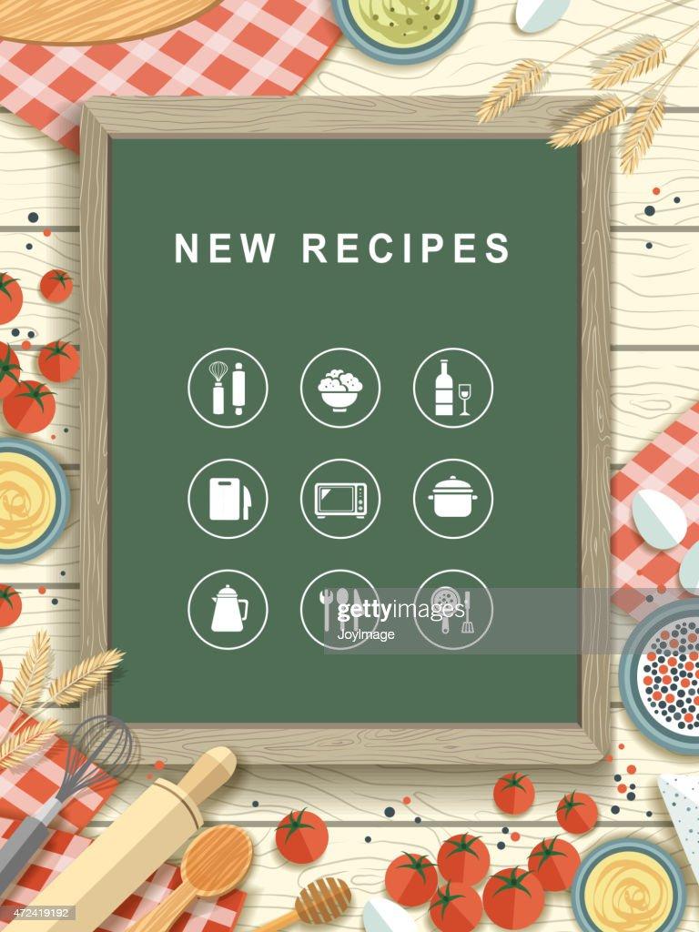 new recipes written on chalkboard in flat design