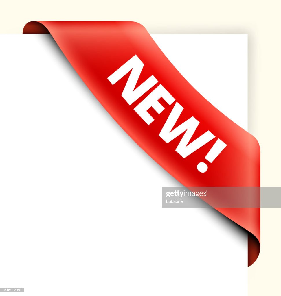 New Red Shopping Banner royalty free vector art corner ribbon : stock illustration