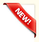 New Red Shopping Banner royalty free vector art corner ribbon