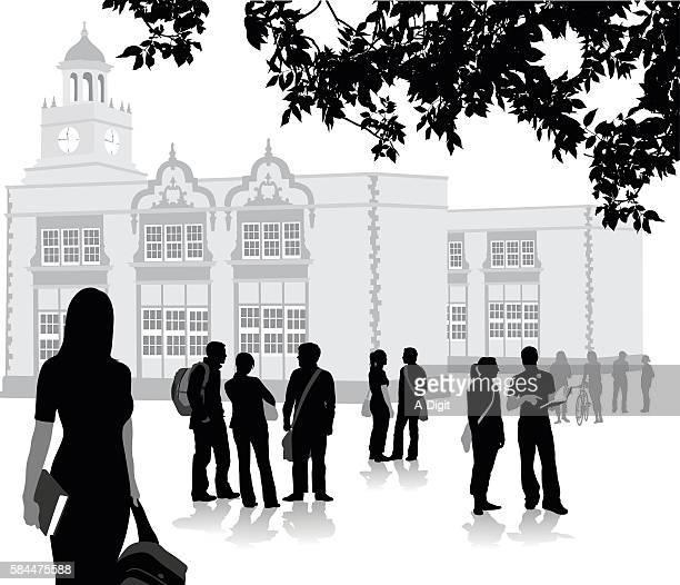 ilustrações de stock, clip art, desenhos animados e ícones de new semester at highschool - patio de colegio