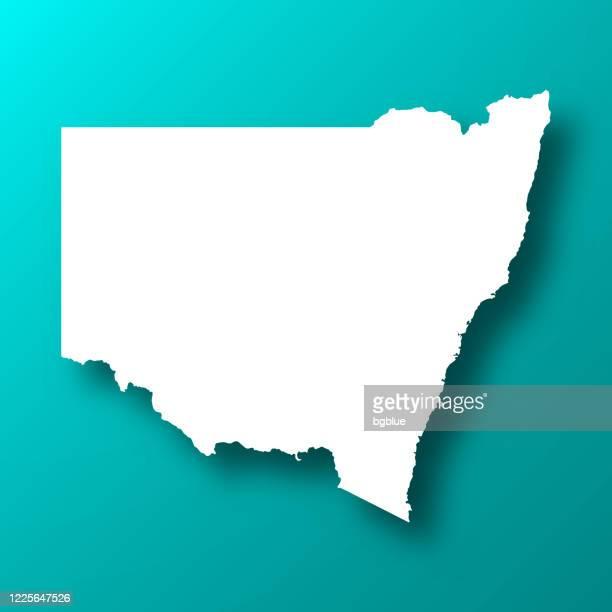 ilustrações, clipart, desenhos animados e ícones de novo mapa de gales do sul em fundo verde azul com sombra - nova gales do sul