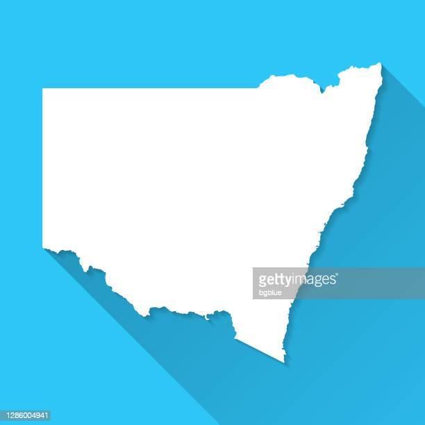 ilustrações, clipart, desenhos animados e ícones de novo mapa de gales do sul com sombra longa no fundo azul - design plano - nova gales do sul