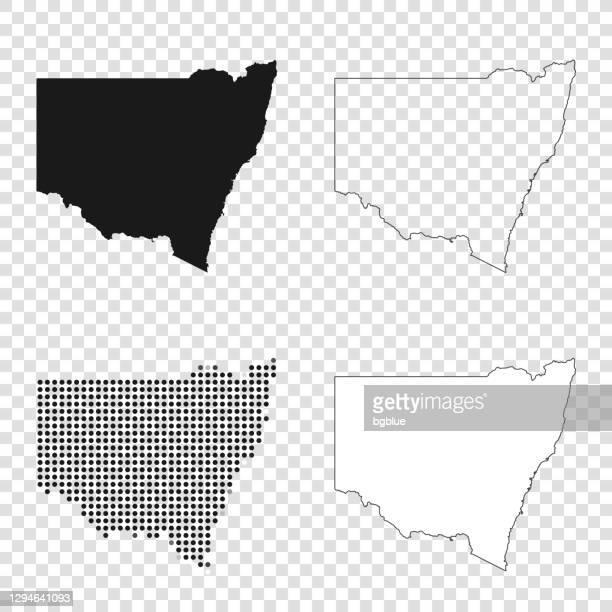 ilustrações, clipart, desenhos animados e ícones de mapas de nova gales do sul para design - preto, contorno, mosaico e branco - nova gales do sul