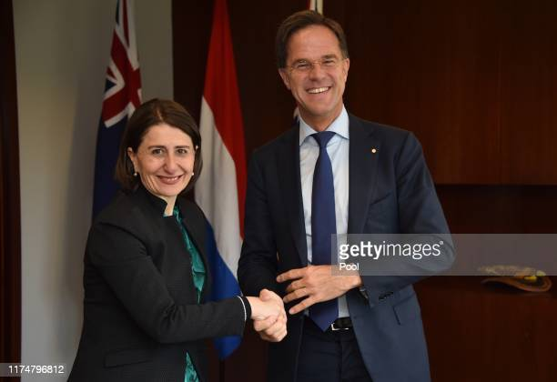 New South Wales Premier Gladys Berejiklian and Netherlands Prime Minister Mark Rutte shakes hands during their meeting at the Parliament of New South...