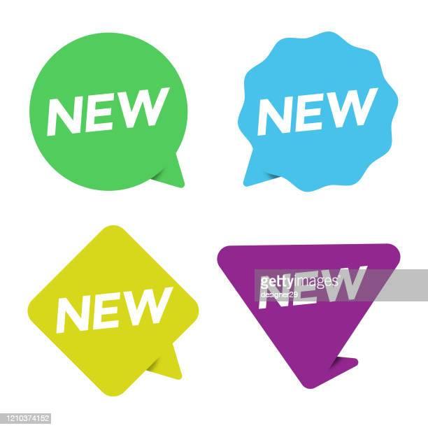 neue aufkleber-symbol-set. neue label und tag preis, verkauf vektor-design auf weißem hintergrund. - neu stock-grafiken, -clipart, -cartoons und -symbole