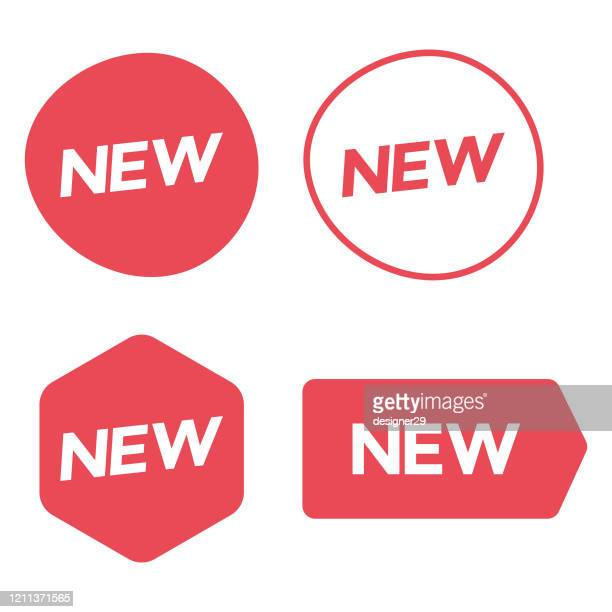 new sticker or tag icon set. promotion and sale label vector design on white background. - new stock illustrations