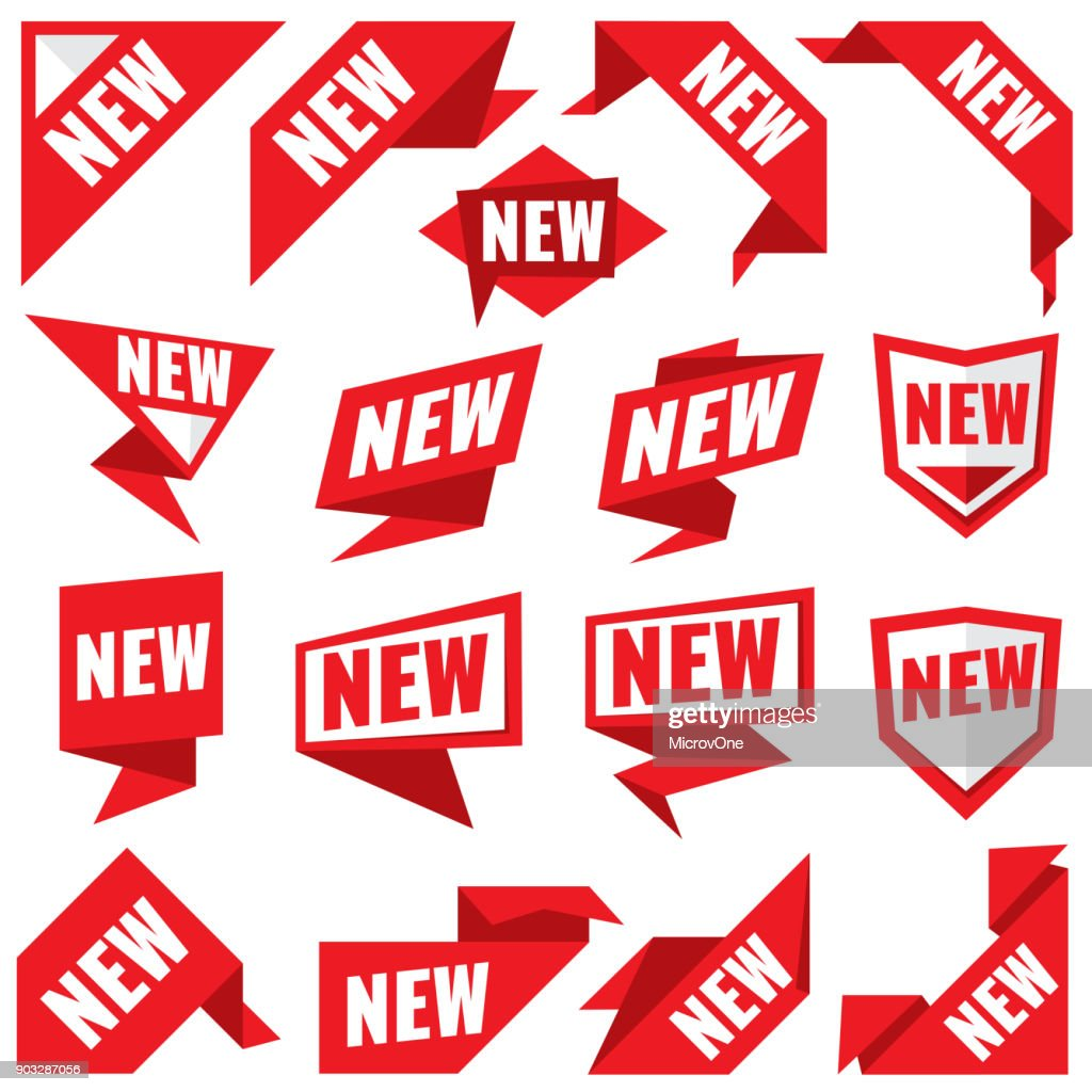 New stickers vector modern labels and corner red banners