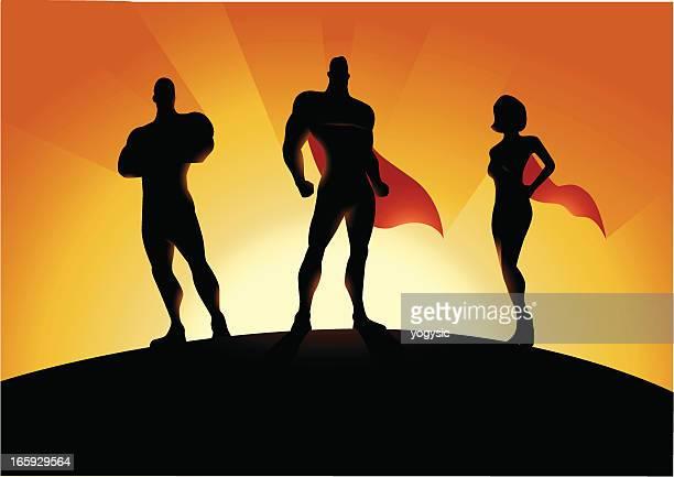 new superhero team - superman stock illustrations