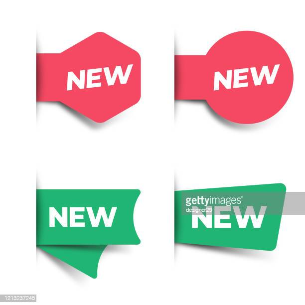 new tag and label icon set. sale and price concept vector design on white background. - new stock illustrations