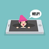 New technologies addiction. Young girl calling for help in the pit / editable flat vector illustration, clip art