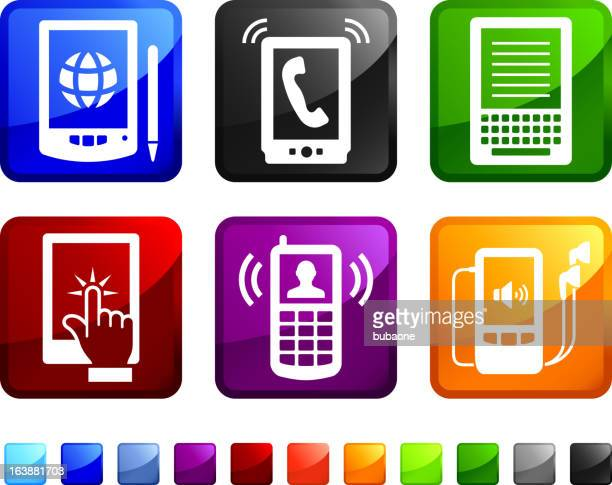 New Technology and Electronics royalty free vector icon set stickers