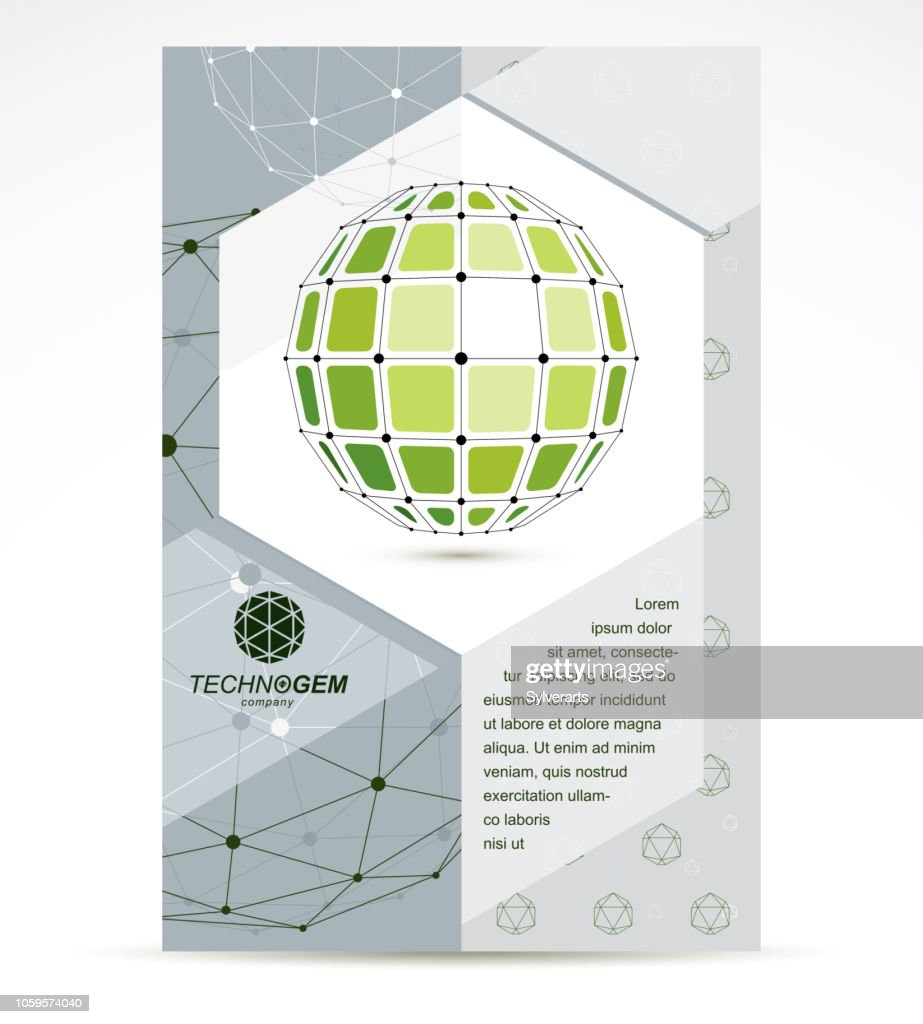New technology theme booklet cover design, front page. Abstract three-dimensional colorful shape, vector design element.