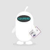 New unread mail. Inbox. Notification. Cute white robot holding an envelope. Flat editable vector illustration, clip art