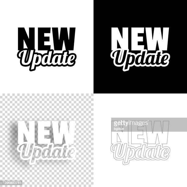 新しい更新プログラム。デザイン用アイコン。空白、白、黒の背景 - ラインアイコン - 最新情報点のイラスト素材/クリップアート素材/マンガ素材/アイコン素材