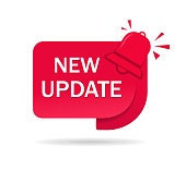 New update label, tag. Red icon of update information for service website, poster of social media. Banner improved edition on isolated background. Badge of available new upgrade. vector illustration.