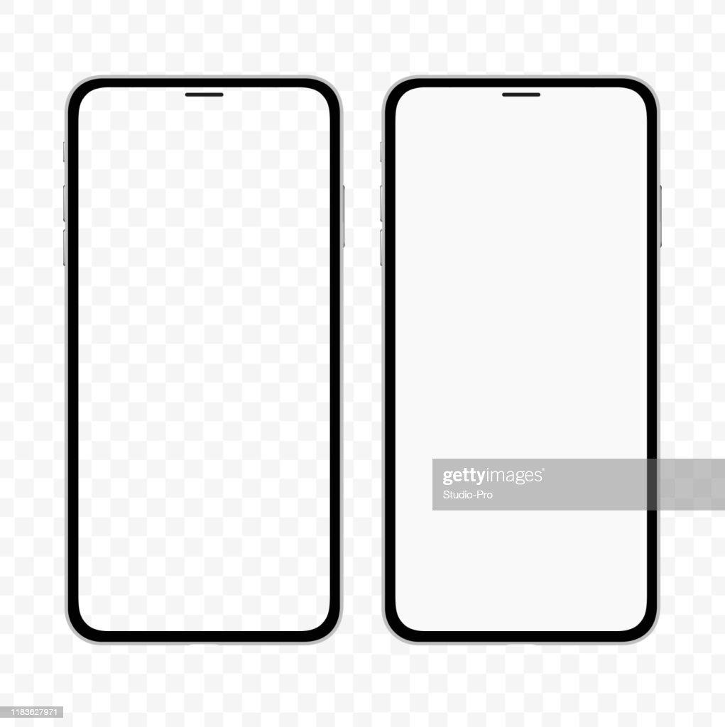 空白の白と透明な画面を持つiPhoneに似たスリムなスマートフォンの新しいバージョン。リアルなベクトルのイラスト。 : ストックイラストレーション