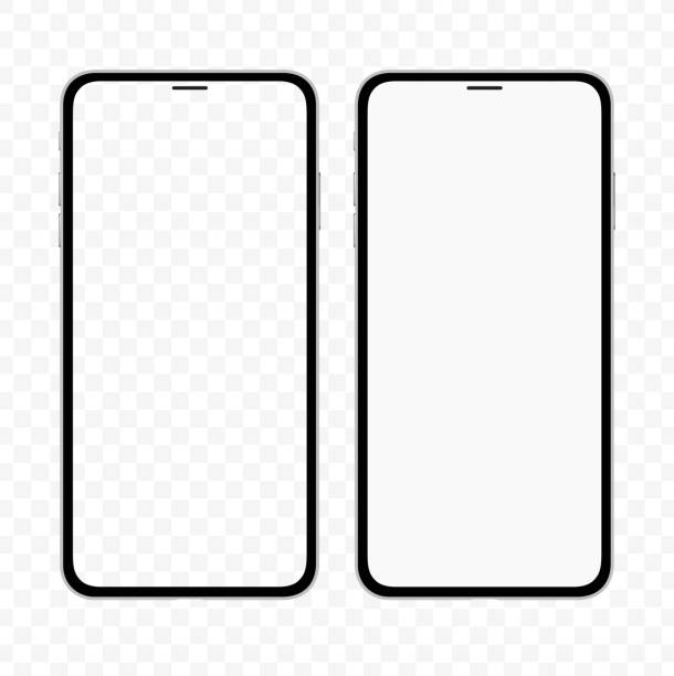 new version of slim smartphone similar to iphone with blank white and transparent screen. realistic vector illustration. - vector stock illustrations