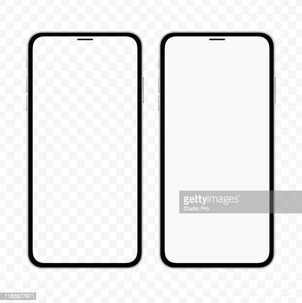 new version of slim smartphone similar to iphone with blank white and transparent screen. realistic vector illustration. - mobília stock illustrations