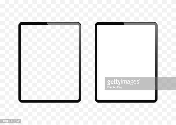 illustrazioni stock, clip art, cartoni animati e icone di tendenza di nuova versione di tablet sottile simile all'ipad con schermo bianco vuoto e trasparente. illustrazione vettoriale realistica. - pc ultramobile