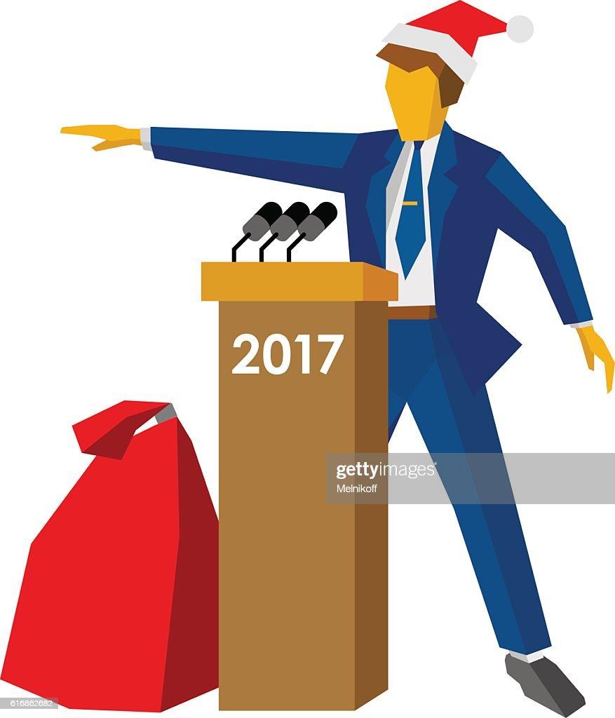 New Year 2017 concept: speaker at podium in Santa hat : Vector Art