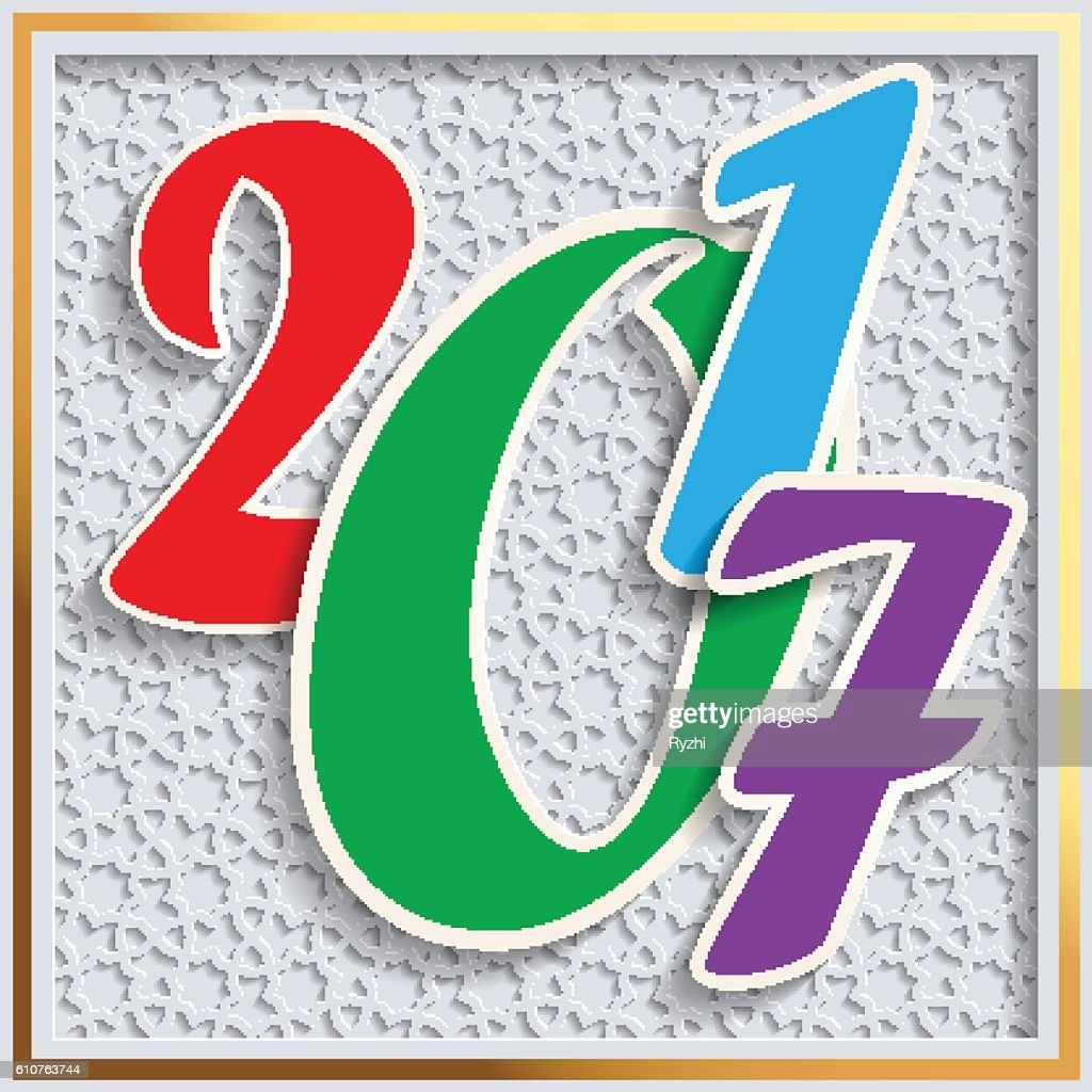New year 2017 greeting card design