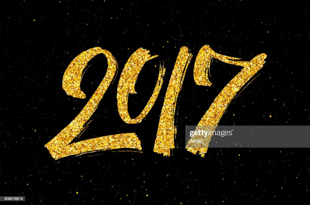 New Year 2017 greeting card with gold glittering