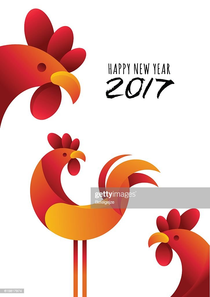 New Year 2017. Vector greeting card, poster, banner with rooster.