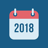 New Year 2018 Calendar Vector Icon