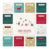 New Year 2018 deer decoration calendar template