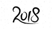 New Year 2018 hand drawn lettering on white retro grunge background. Vector illustration
