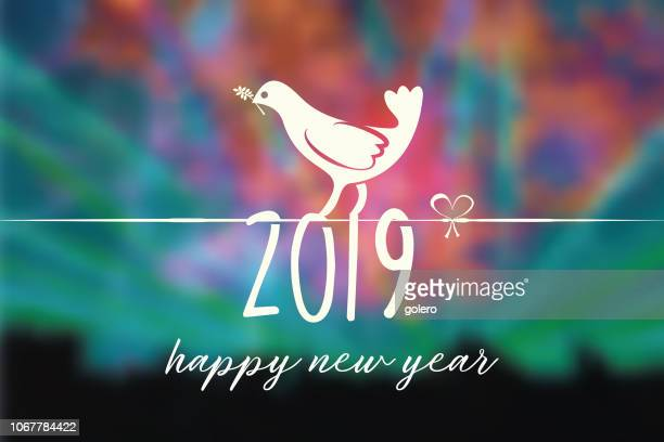 new year 2018 peace symbol on blurred colorful background - symbols of peace stock illustrations