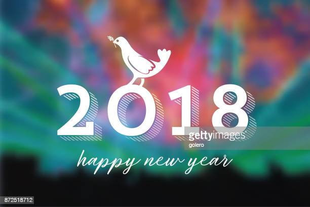 new year 2018 peace symbol on blurred colorful background - peace stock illustrations, clip art, cartoons, & icons