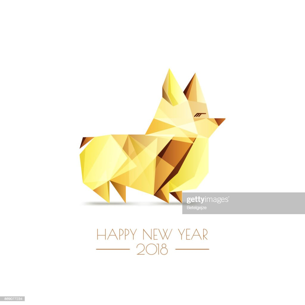 New Year 2018. Vector greeting card, poster, banner with golden luxury low poly dog symbol. Gold welsh corgi pembroke.