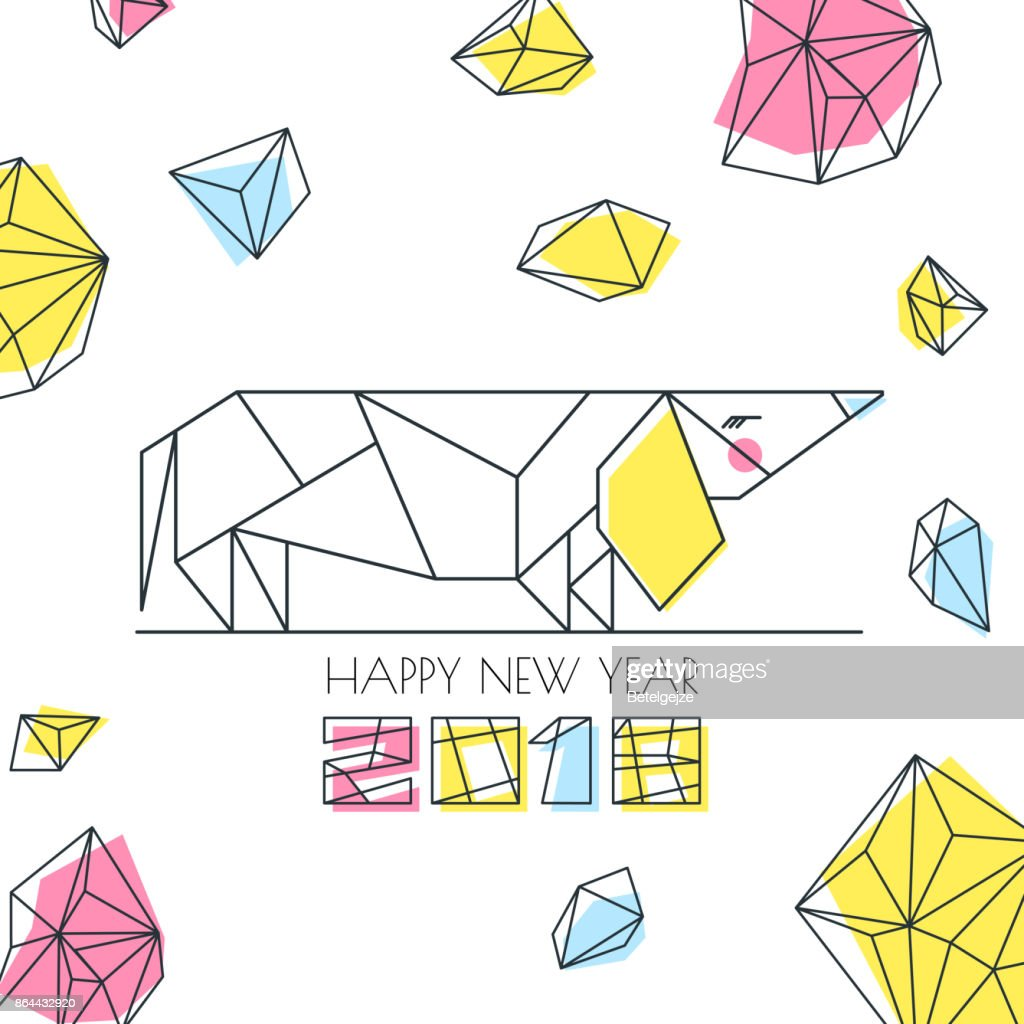 New Year 2018. Vector greeting card, poster, banner with outline multicolor dog symbol. Chinese calendar decoration.