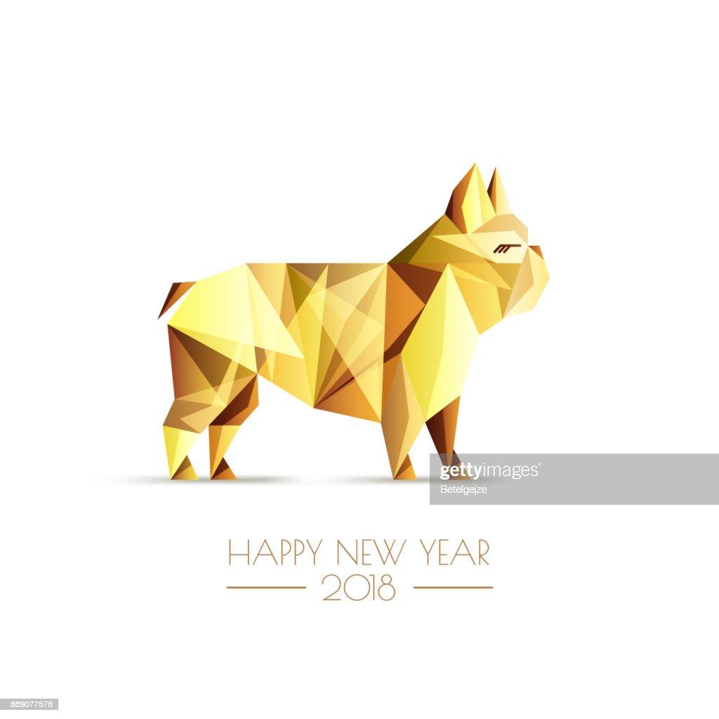 New Year 2018. Vector greeting card, poster with golden luxury low poly dog symbol. Gold french bulldog.