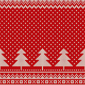 New Year 2018. Winter Holiday Seamless Knitted Pattern. Wool Knitting Texture