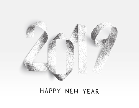 New Year 2019 card - stippling 3D Illustration with realistic paper strips bent in the shape of numbers - gettyimageskorea