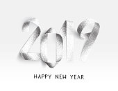New Year 2019 card - stippling 3D Illustration with realistic paper strips bent in the shape of numbers