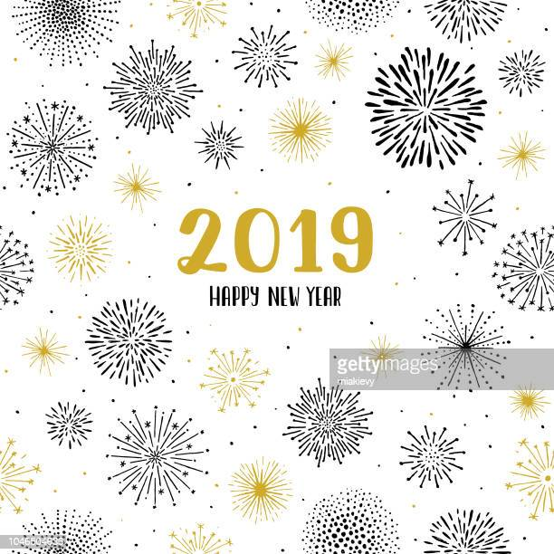new year 2019 fireworks seamless pattern - slovenia stock illustrations