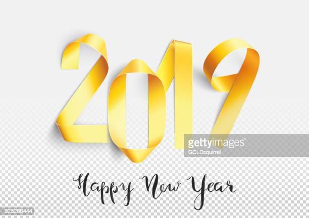 Grusskarte Neujahr 2019 - handgemachte gold bemalte Streifen zu zahlen Formen gebogen