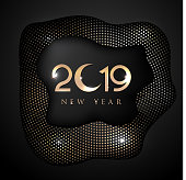 New year 2019 greeting card with halftone effect background. vector illustration