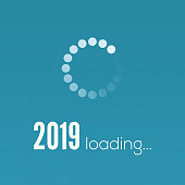 New Year 2019 is loading. Sign with circular loading panel, progress bar. Greetings with design of text in vintage style. Vector illustration, eps10
