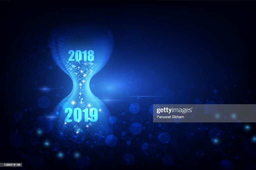 New Year 2019  with hourglass concept. vector illustration