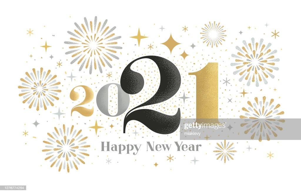 New year 2021 fireworks greeting : Stock Illustration