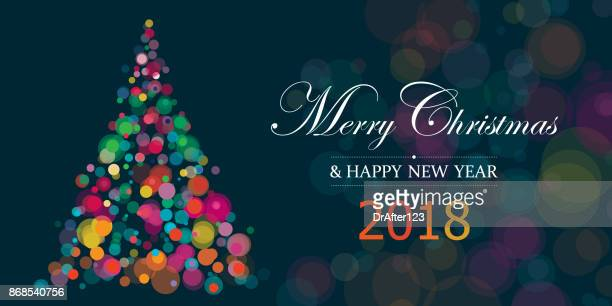 New Year And Christmas 2018 Illustration Horizontal With Copy Space Text