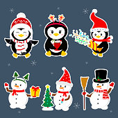 New Year and Christmas card. A set of stickers of three penguins and three characters of snowmen in different hats and poses in winter. Christmas trees, gifts, confetti. Cartoon style, vector